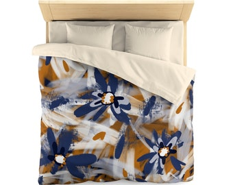 Expressive Abstract Floral Pattern With Large Daisies Duvet Cover