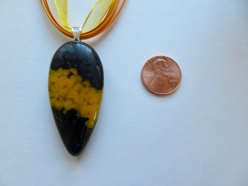 Unique Glass Jewelry Art Glass Necklace Yellow Fused Glass Teardrop Pendant on Ribbon Necklace