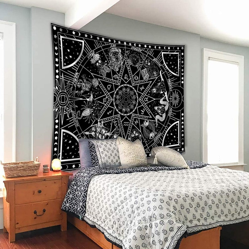 Tarot 12 Constellation Wall Tapestry Bedroom Black And White Hippy Celestial Wall Hanging For Living Room Boho Wall Hanging For Home Craft Supplies Tools Visual Arts Vadel Com