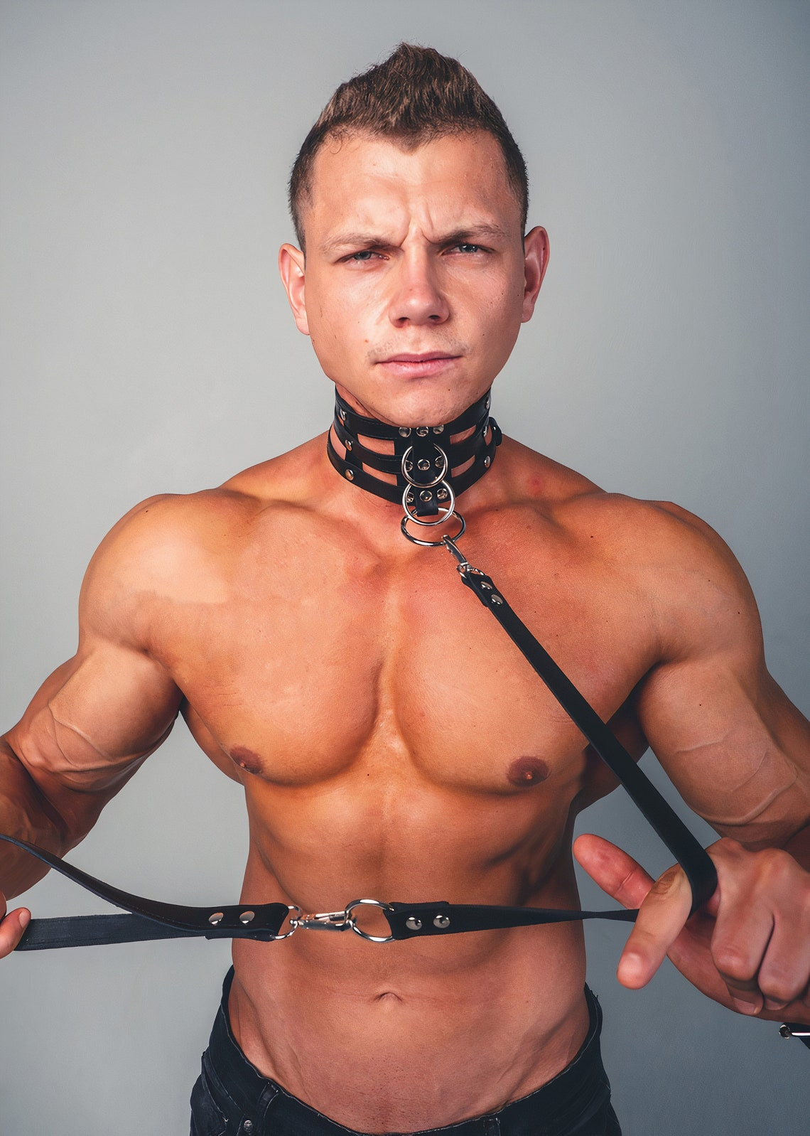 Male Harness Gay Harness Bdsm Harness Leather Slave Collar