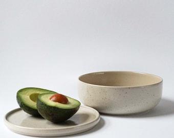 Ceramic bowl speckled 600ml | Ceramic plate handmade | modern stoneware | in Germany handmade dishes