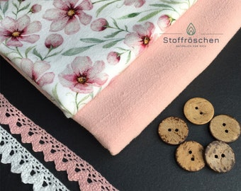 Fabric package jersey from Organic Cotton /Viskoseleinen, 100 cm lace, cotton, coconut buttons free, 2 x 50 cm