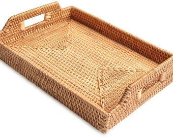 Rattan Storage Fruit,  Basket Candy Snack Cutlery Serving Trays with Handles Breakfast, Food, Coffee, Bread Serving Baskets
