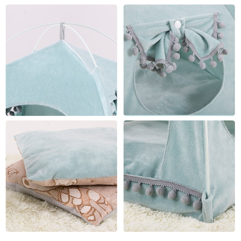 Pet Bed For Cats Dogs Soft Nest Kennel Bed Cave House Sleeping Bag Mat Pad Tent Pets Winter Warm Cozy Beds