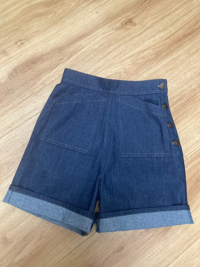 Vintage Shorts, Culottes,  Capris History Vintage Style Denim Shorts  High waist  pin-up Rockabilly  Button fastening $57.57 AT vintagedancer.com