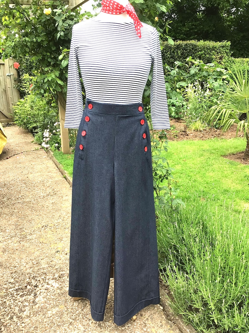 Vintage Western Wear Clothing, Outfit Ideas     Vintage style Yacht pants  wide leg denim swing 1930s/40s Button front  Pin up/Rockabilly $91.17 AT vintagedancer.com