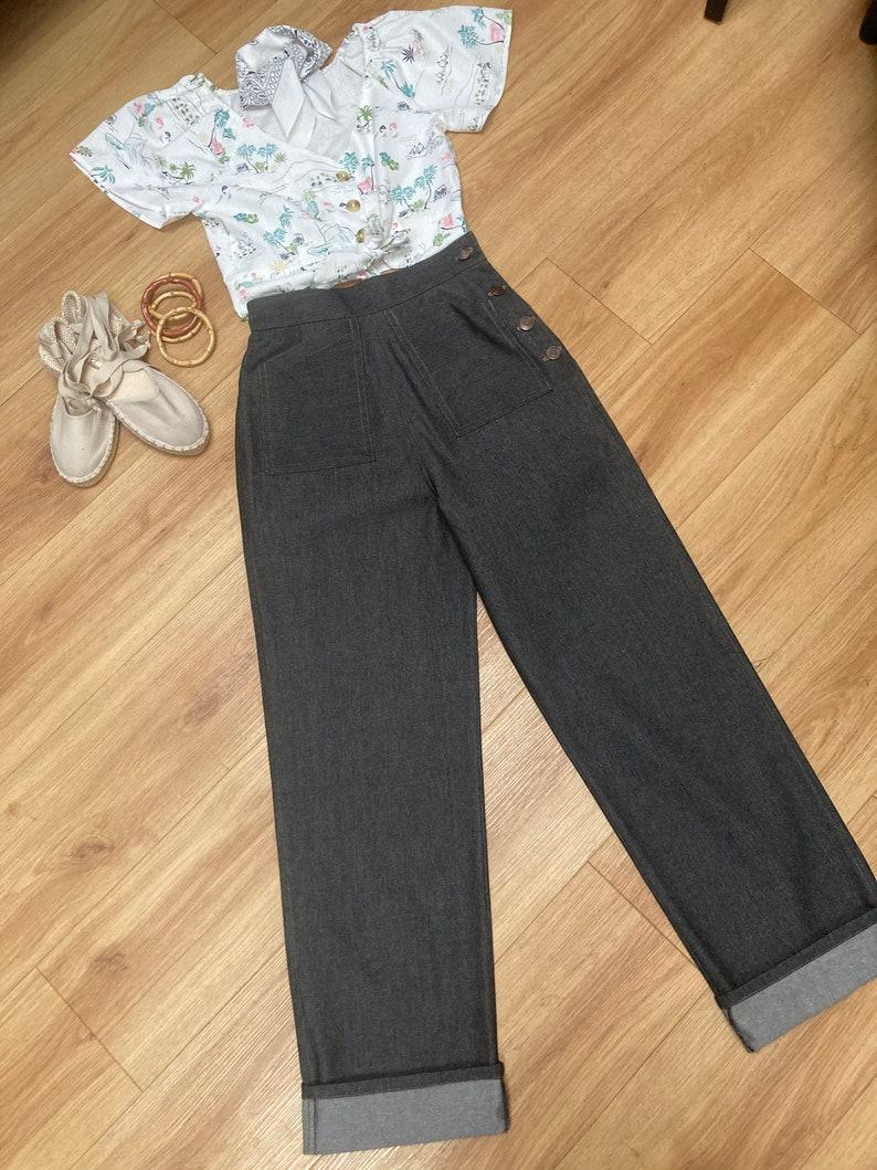 1940s Swing Pants & Sailor Trousers- Wide Leg, High Waist Vintage style jeans 1940s/50s denim trousers swing pants $79.19 AT vintagedancer.com