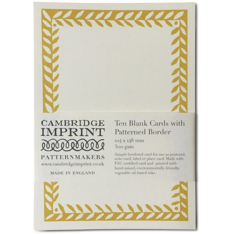 Ten Blank Cards with Patterned Border in Tumeric