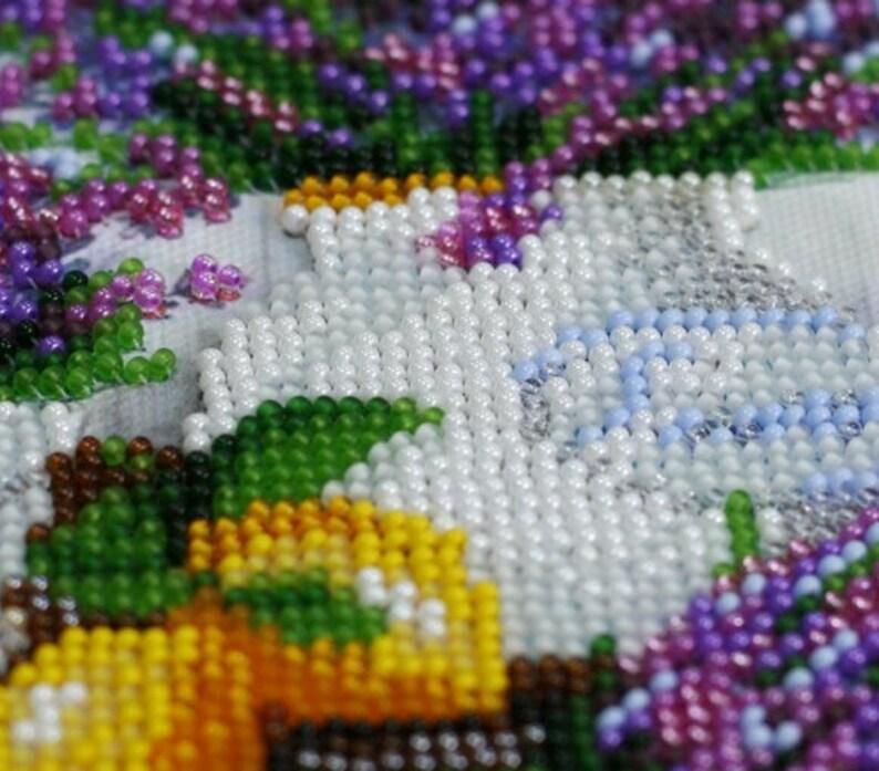 rainbow fan leaves DIY bead embroidery kit   needlework gift