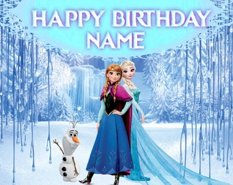 Elsa Summer Custom Party Decorations and Supplies Photography Background Personalized Party Backdrop with Name and Age Frozen Fever Birthday Banner