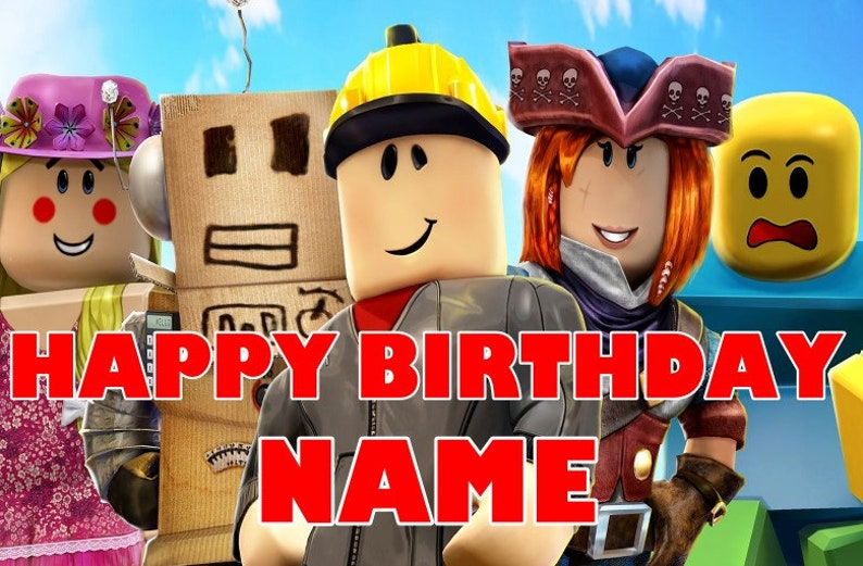 Roblox Happy Birthday Banner FREE 2nd DAY SHIPPING 13 Oz Vinyl Printed Backdrop Banner Custom Kids Birthday Banner Personalized