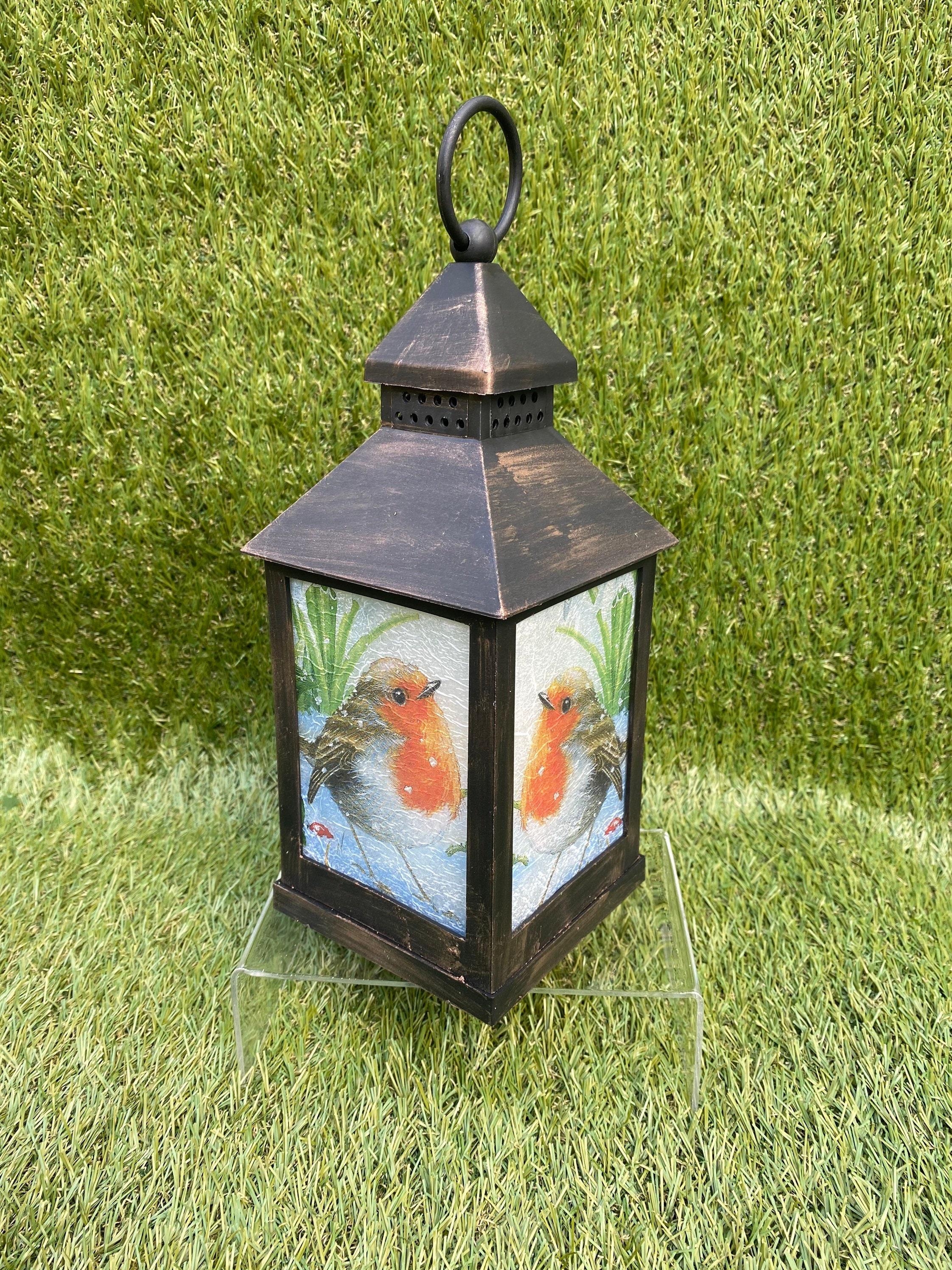 Robin lantern, led battery operated, decoupaged lantern, Christmas gift , Christmas lantern