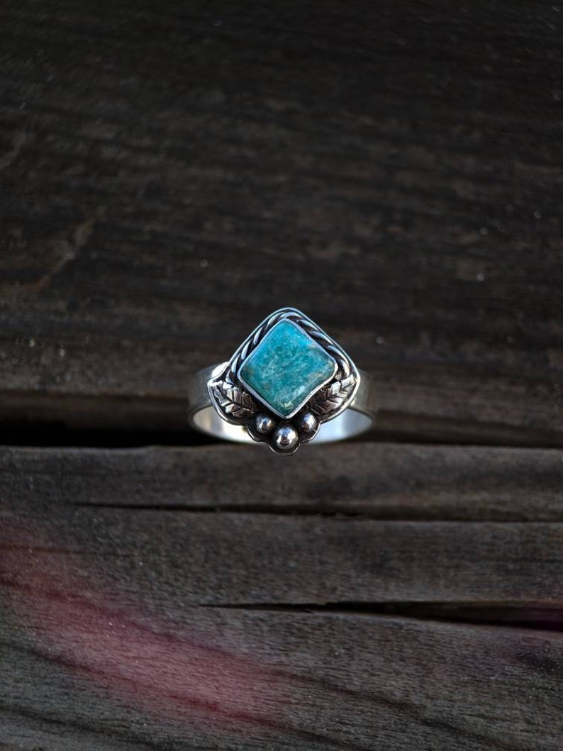 Amazonite Floral Ring
