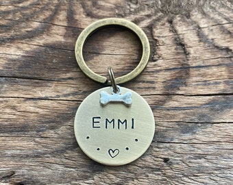 Dog tag with small KNOCHEN, personalized dog tag, animal tag with name, dog ID with pendant