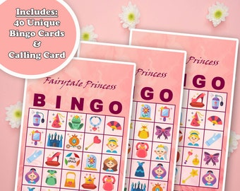 40 Fairytale Princess Bingo Game Prefilled Cards, PDF Printable, Instant Download, Easy Kid's Birthday Party Game