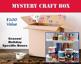 Mystery Craft Box - Ribbons, Wreath Making Supplies, Embellishments, & More. Mixed Craft Supply Grab Bag Assortment