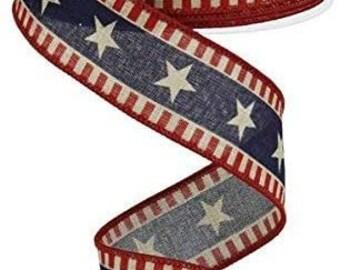Stars & Stripes Wired Edge Ribbon - 10 Yards