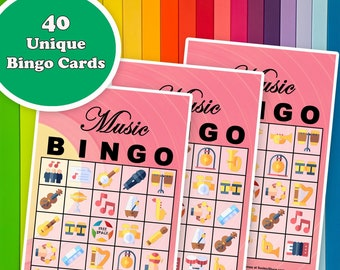 40 Music Bingo Game Prefilled Cards, PDF Printable, Instant Download, Easy Kid's Classroom Educational Game