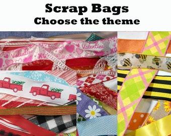 SCRAP BAGS - Random Selection of Ribbon, Lace, Deco Mesh, Trim, etc. 25 Pieces / Scrap Grab Bag / Pick A Theme
