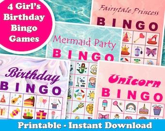 4 Girl's Birthday Party Bingo Games: Birthday, Princess, Mermaid, and Unicorn Themes. Prefilled Cards, PDF Printable, Instant Download