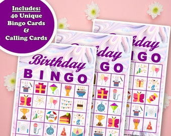 40 Birthday Bingo Game Prefilled Cards, PDF Printable, Instant Download, Easy Kid's Birthday Party Game