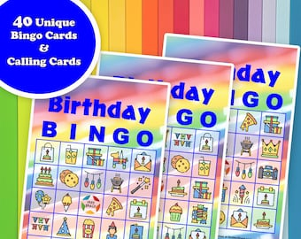 40 Happy Birthday Bingo Game Prefilled Cards, PDF Printable, Instant Download, Easy Kid's Birthday Party Game