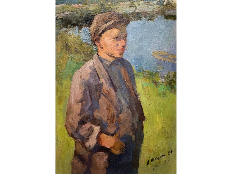 1958 impressionist unique fine art rural scene artwork ANTIQUE BOY PORTRAIT Vintage original oil painting Soviet Ukrainian artist Shkurko A