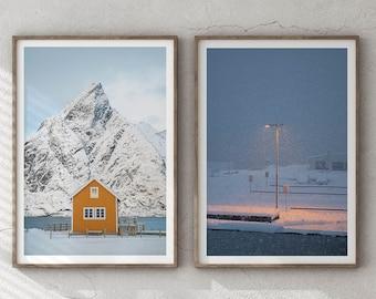 Set of 2 Snowy Norway - Lofoten Islands Giclée Photography Art Print, Minimalist Poster Wall Art, Minimal Abstract Aerial Drone, Frida Berg