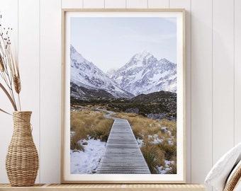 Mount Cook Art Print - New Zealand Giclee Photography, Minimalist Poster Wall Art, Hooker Valley Track Hiking Alpine Mountain, Frida Berg