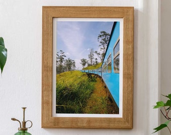 Blue Train Sri Lanka Giclée Art Print - Travel Photography Poster, Nuwara Eliya Kandy Ella Train Tea Paddy Fields, Frida Berg Photographer