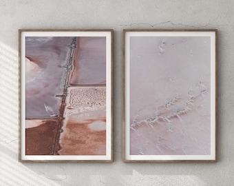 Set of 2 Australia Salt Lake Textures - Giclée Photography Art Print, Minimalist Poster Wall Art, Minimal Abstract Aerial Drone, Frida Berg