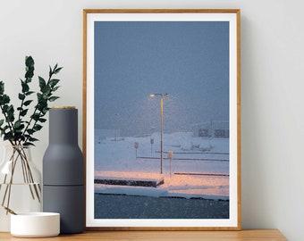 Snowy Lampost Art Print - Tromso, Norway Photography Wall Art, Minimalist Giclée Fine Art, Snow Pastel Colours, Scandinavian Photographer