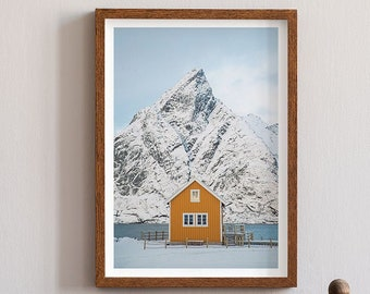 Sakrisoy Lofoten Islands Art Print - Norway Photography Wall Art, Minimalist Giclée Print, Yellow Cute Cabin Huts Scandinavian Photographer