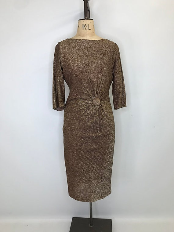 Bronze Lurex Wiggle Dress