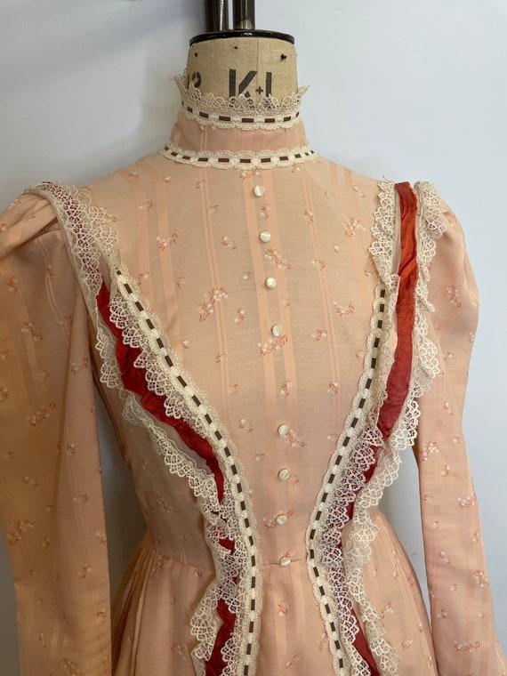 70's Lace Bibbed Prairie Dress