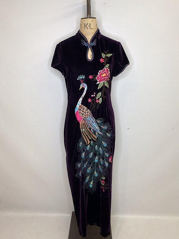 Y2K Velvet Oriental Maxi Dress