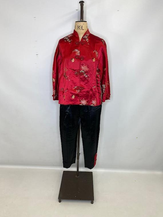 Oriental Print Red Suit