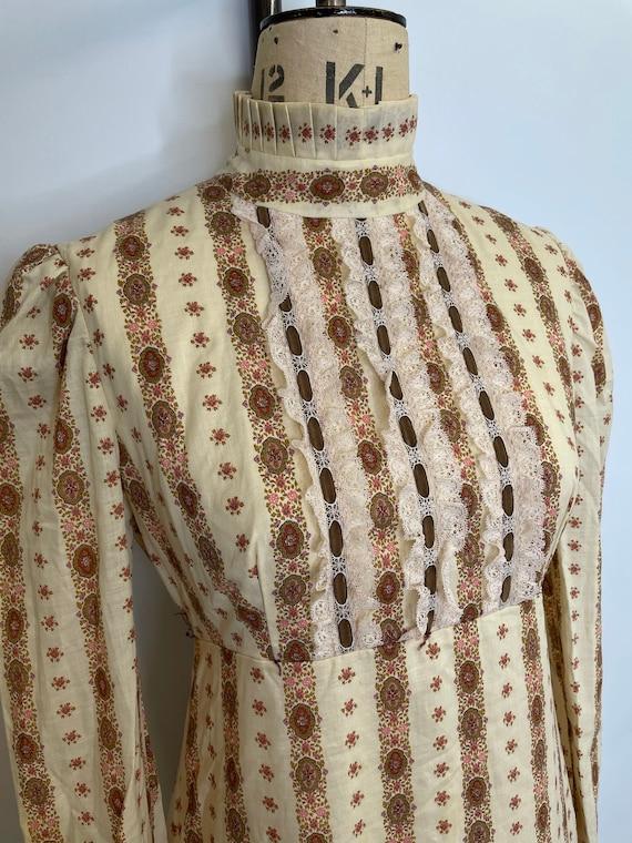 70's Floral Striped Prairie Dress