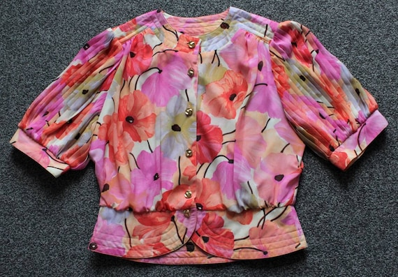 1980's gorgeous floral top by Hardob.