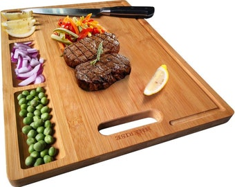 Large Organic Bamboo Cutting Board For Kitchen, 3 Built-In Compartments And Juice Grooves, Heavy Duty Chopping Board For Meats Bread Fruits