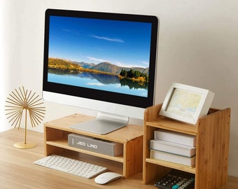 Monitor Stand Riser with Storage Shelf, 2 Tiers Bamboo Desktop Stand for Laptop Computer, Desk Shelf Organization for Home Office
