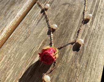 Dried Rose Necklace   Resin Flower Necklace   Yellow Rose necklace   Pink Rose Necklace