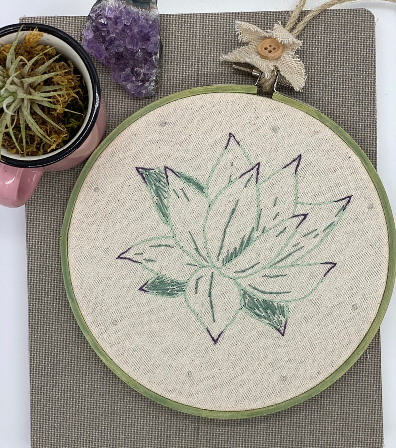 Agave succulent hand embroidered wall art nursery art.