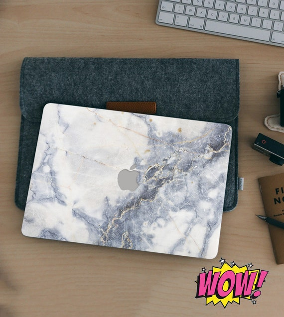 White marble with braun crack granite art creative decal for new macbook m1 a2337 A2338 skin a1708 a1534 a1502 macbook sticker 12 inch case