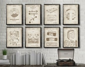Vintage Audio MUSIC patents 8 poster set, Record Player, Vinyl Record, Microphone, Reel to reel, Headphones, Audio Music wall decor 465a472