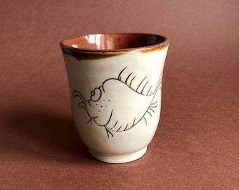 Dessert bowl made of ceramic, hand-potted, concerned fish