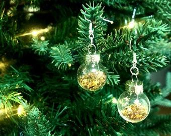 Christmas Bauble Earrings - Mini Gold Star Glitter Baubles