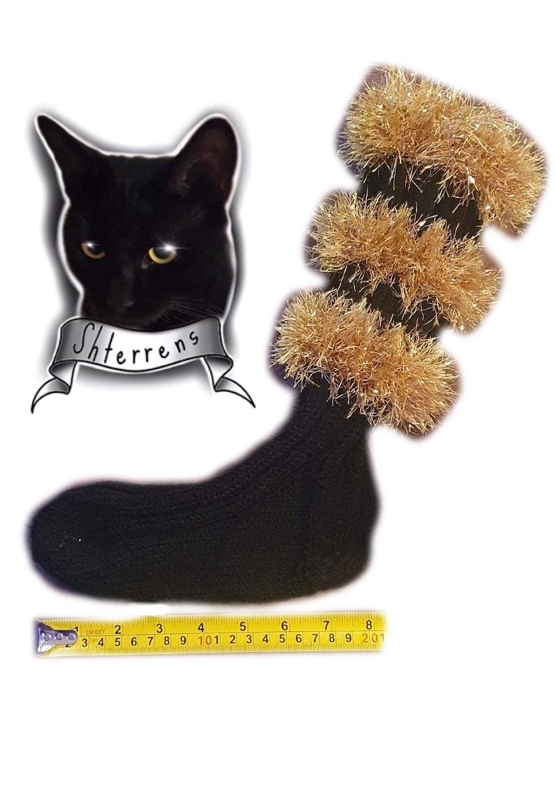 black with golden tinsel Handmade knitted socks UK size 6-9