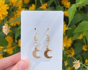 Gold Crescent Moon Earrings