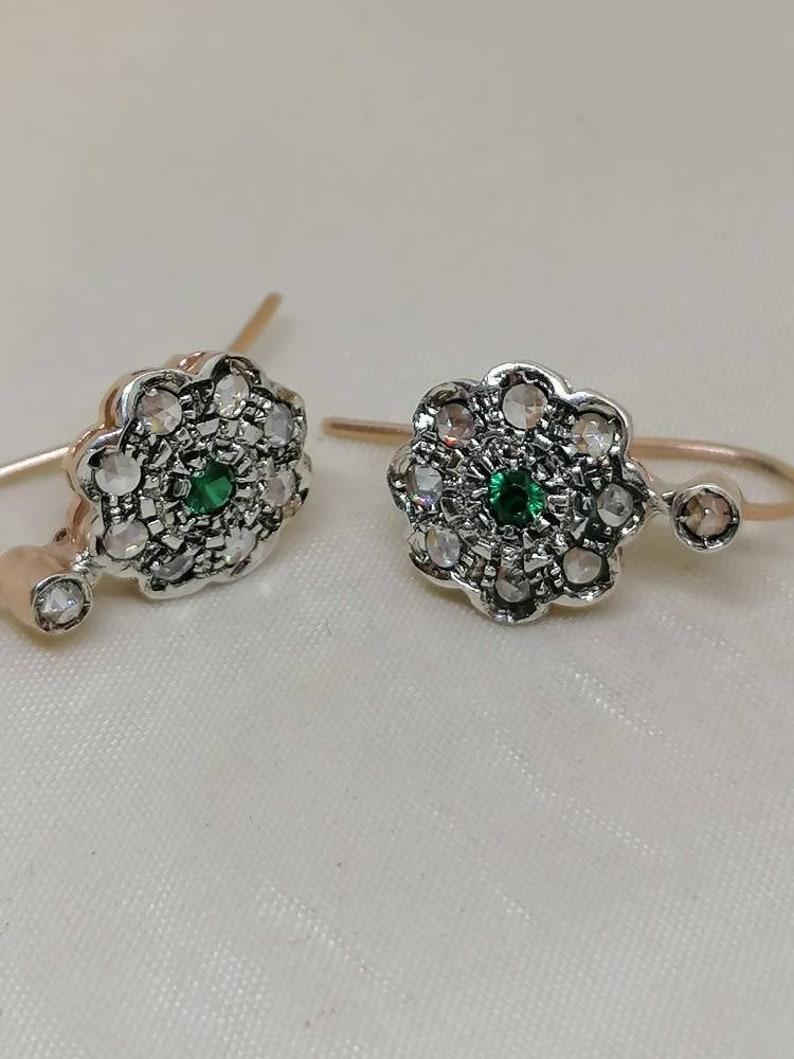 Victorian style earrings handmade earrings Too many earrings Bohemian crystal rose earrings vintage silver earrings